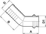 Slangsockel vinklad (45gr) för överfallsmutter
