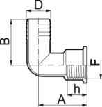 Slangsockel 90° med F (inv.) gänga