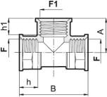 T-rör i polypropylen; 3 x F (inv.gängor)