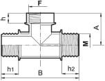 T-rör i polypropylen; M - F - M (utv. - inv. - utv. gängor)